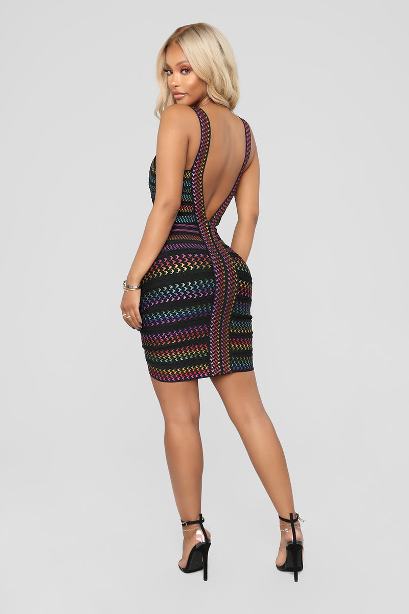 Colorful Cut Out Backless Bandage Dress - iulover