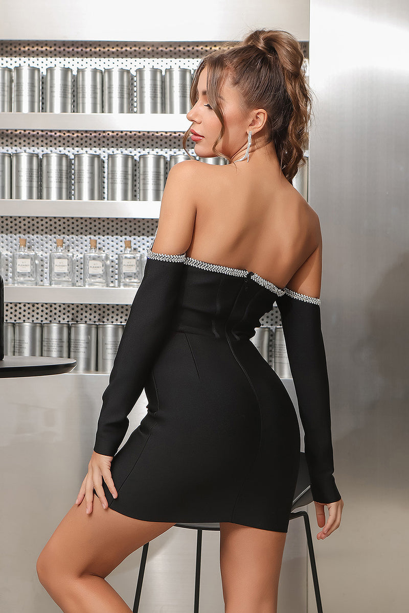 Crystal Corset  Long Sleeve Strapless Open Back Mini Bandage Dress