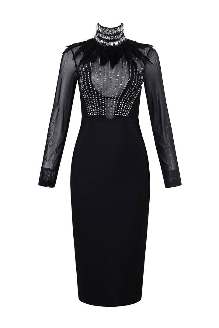 Black Sleeveless Beading Feather Mesh Bandage Dress - iulover
