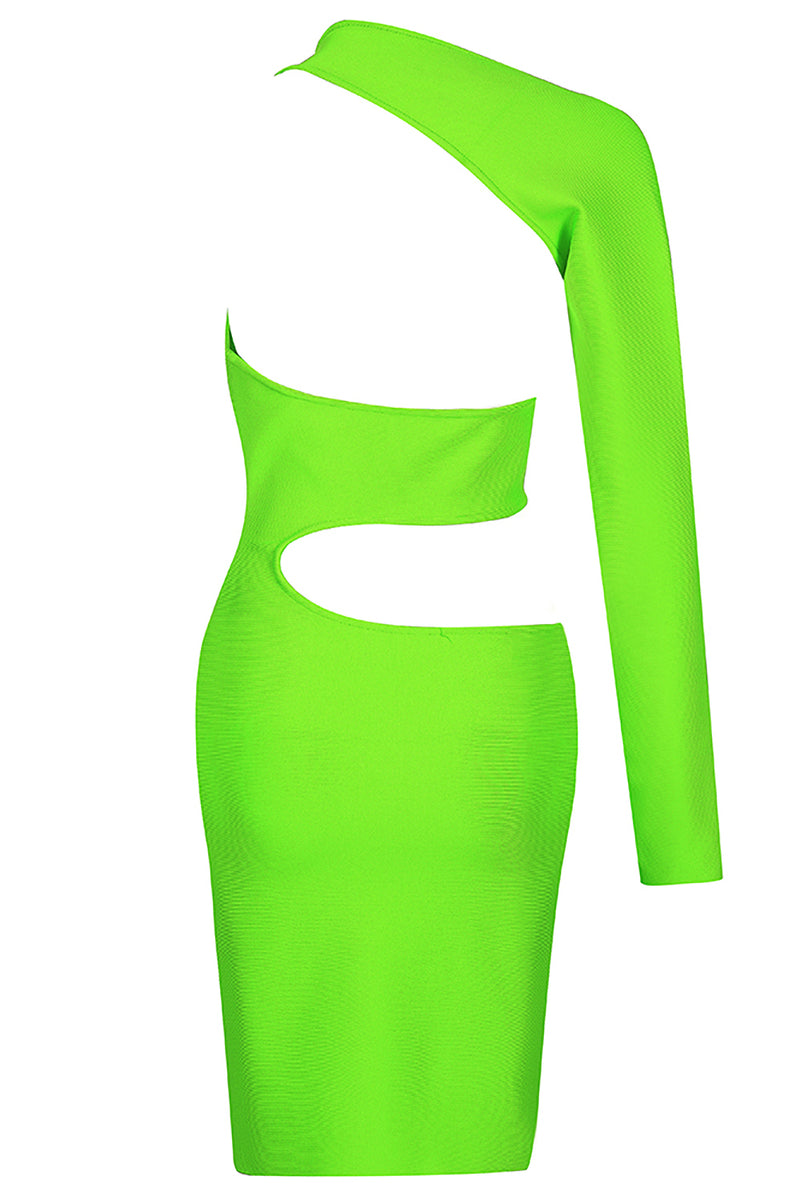 GREEN BANDAGE ONE SHOULDRE DRESS - iulover