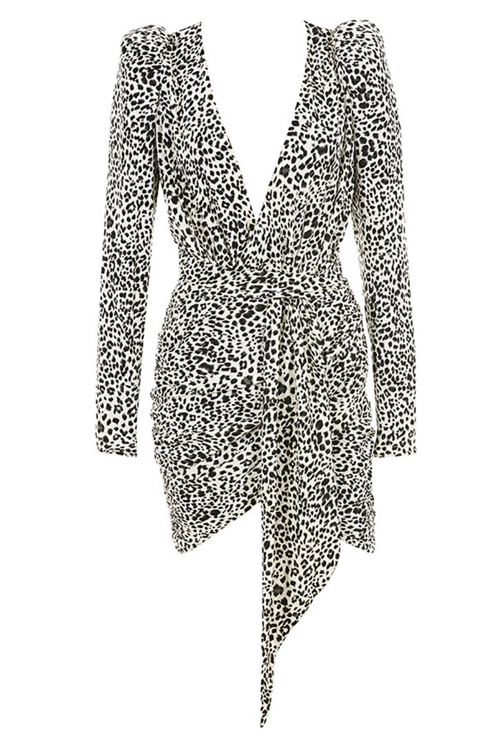 Dalmatian Print Draped Mini Dress - iulover