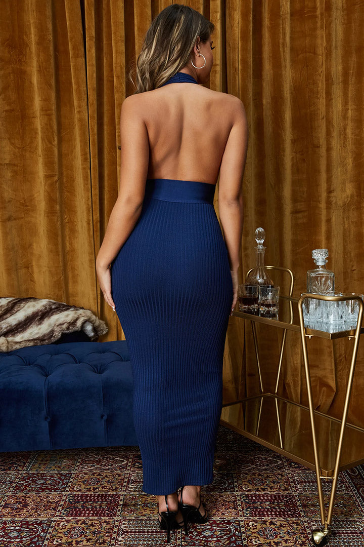 Dark Blue Backless Bandage Maxi Dress - iulover