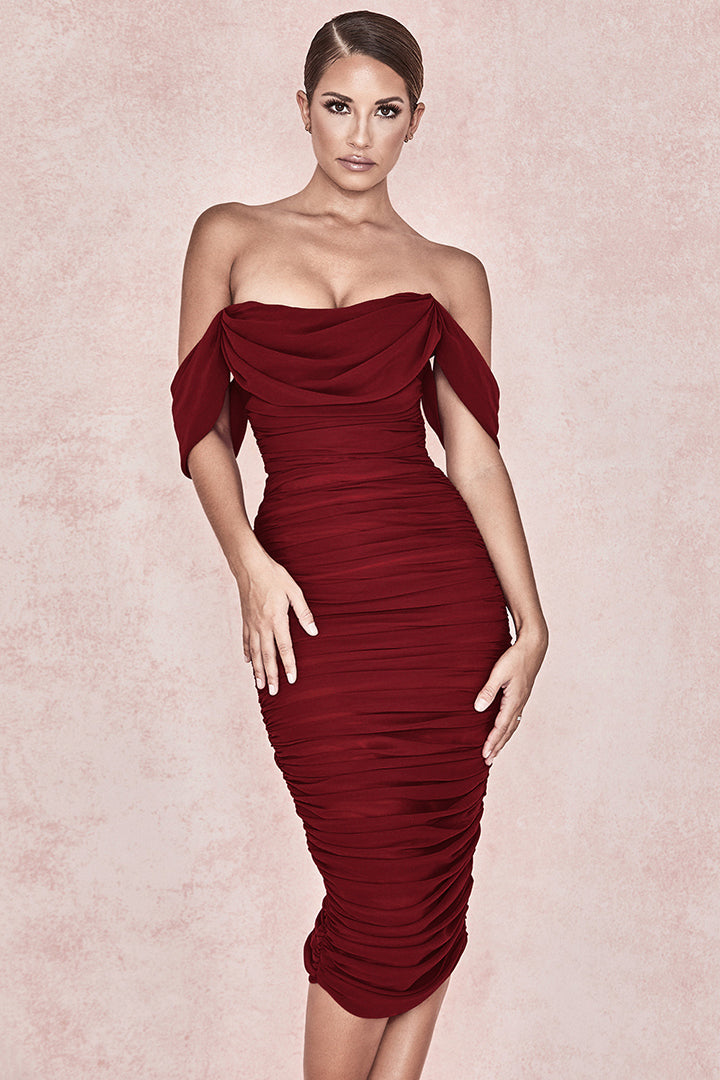Off Shoulder Ruched Mesh Midi Dress - iulover