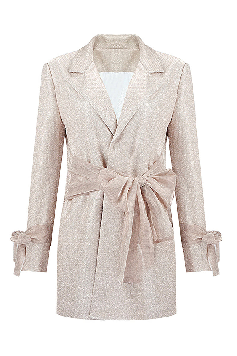 Bow Long Sleeves Turn-down Collar Blazer Dress