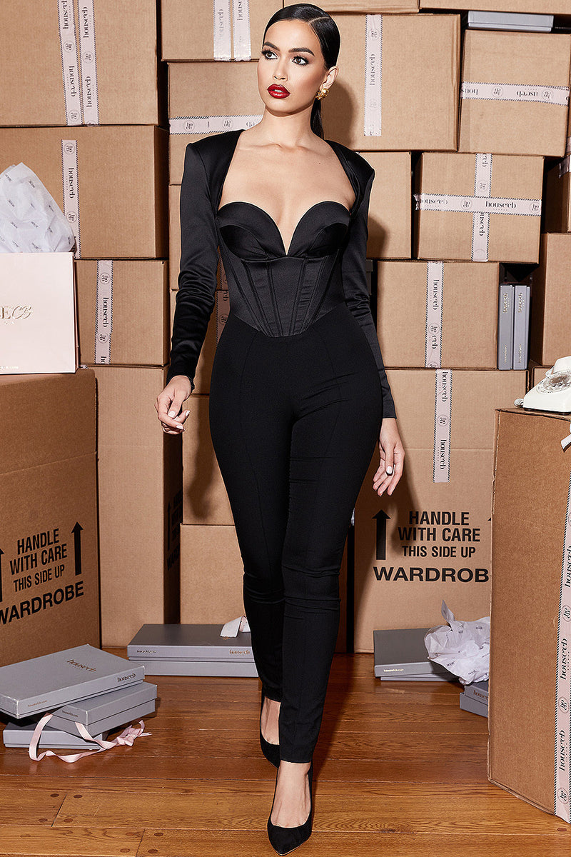 Long Sleeves V-Neck Hollow Open Back Bandage Jumpsuit