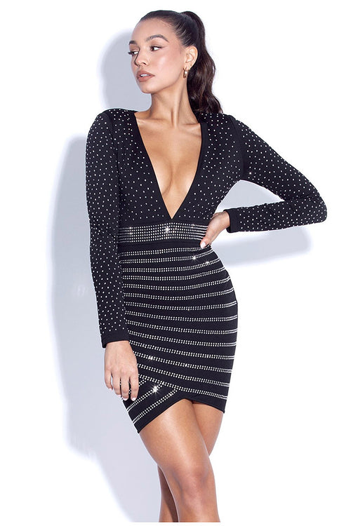 Crystal Deep V Black Long Sleeve Mini Bandage Dress