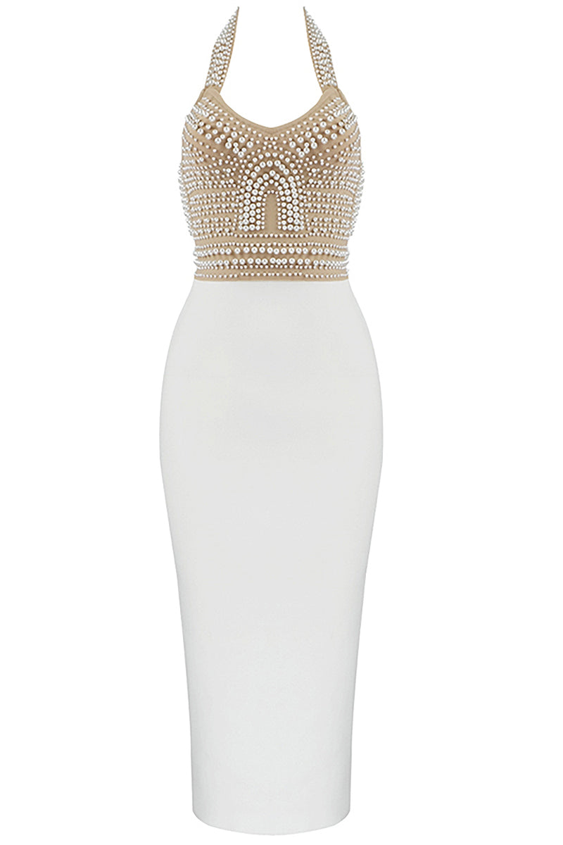 Deep V Pearl Beaded Backless Bodycon Bandage Dress