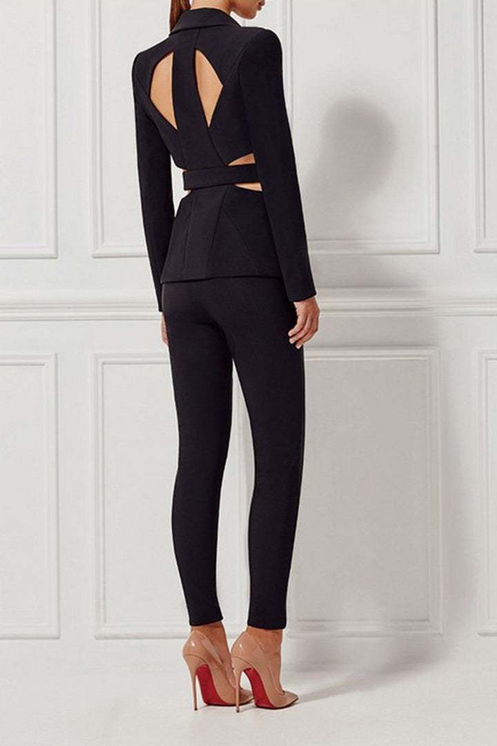 Deep V Blazer Skinny Cut Out Business Style Suits Sets