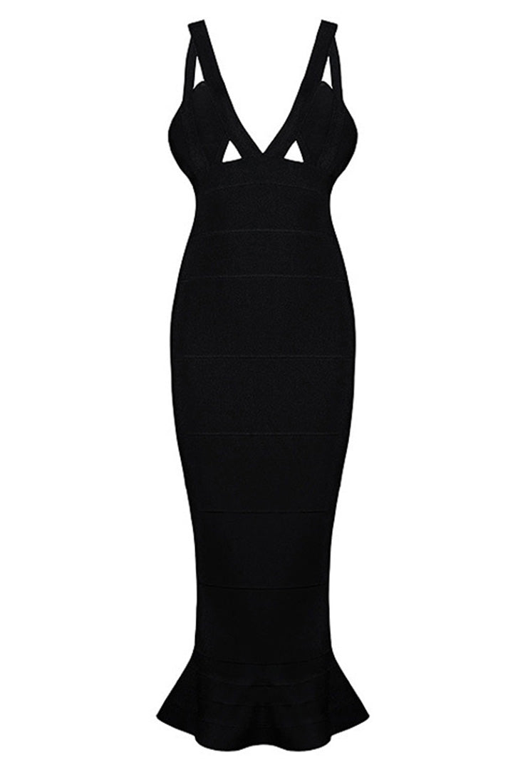 Deep V Cutout Fishtail Backless Bandage Gown Various Colours - iulover