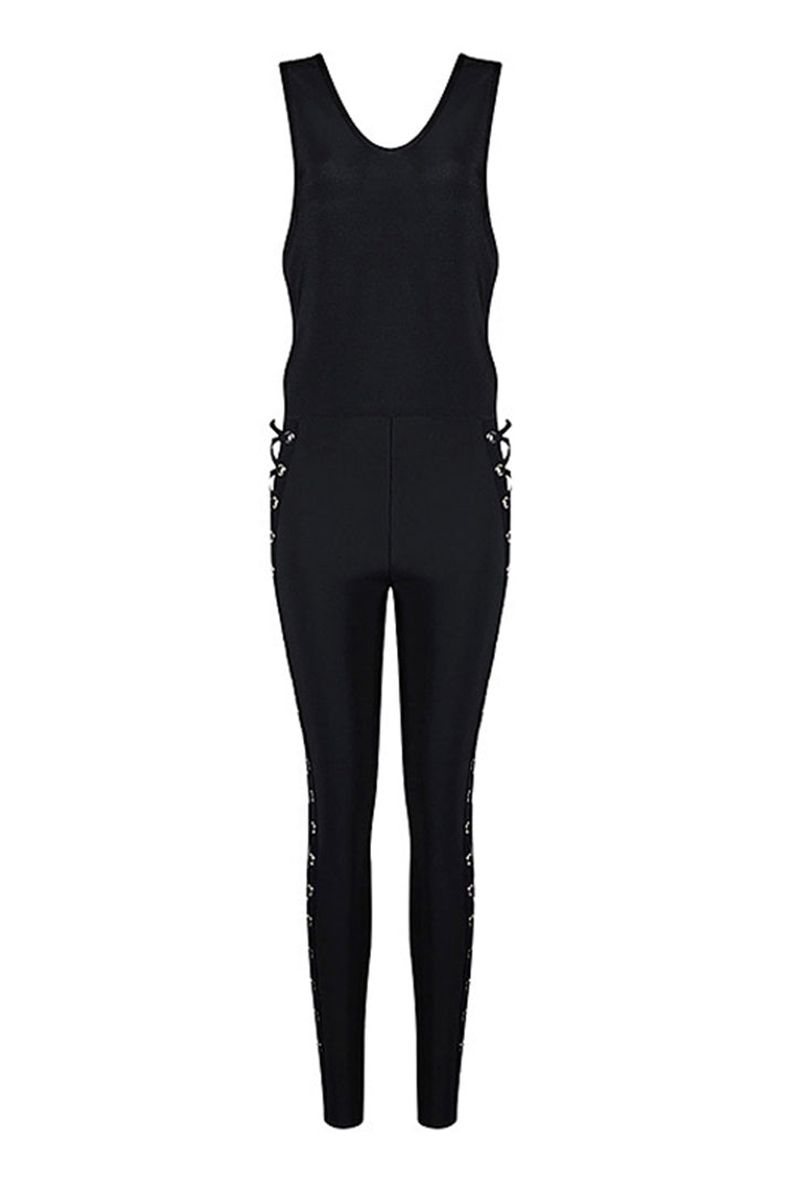 Deep V Lace-up Hollow Out Sexy Skinny Bandage Jumpsuit - iulover