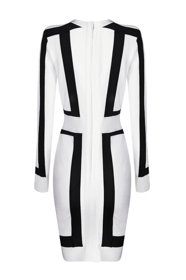 Deep V Long Sleeves White and Black Bandage Dress - iulover