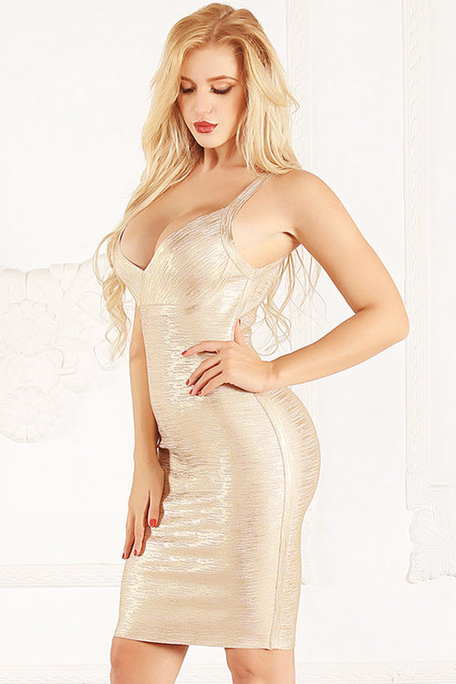 Gold Foiling Strappy Bandage Dress - iulover
