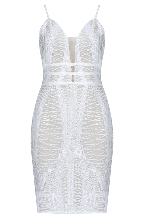 Deep V Strappy Sequins Mesh Bodycon Mini Dress - iulover