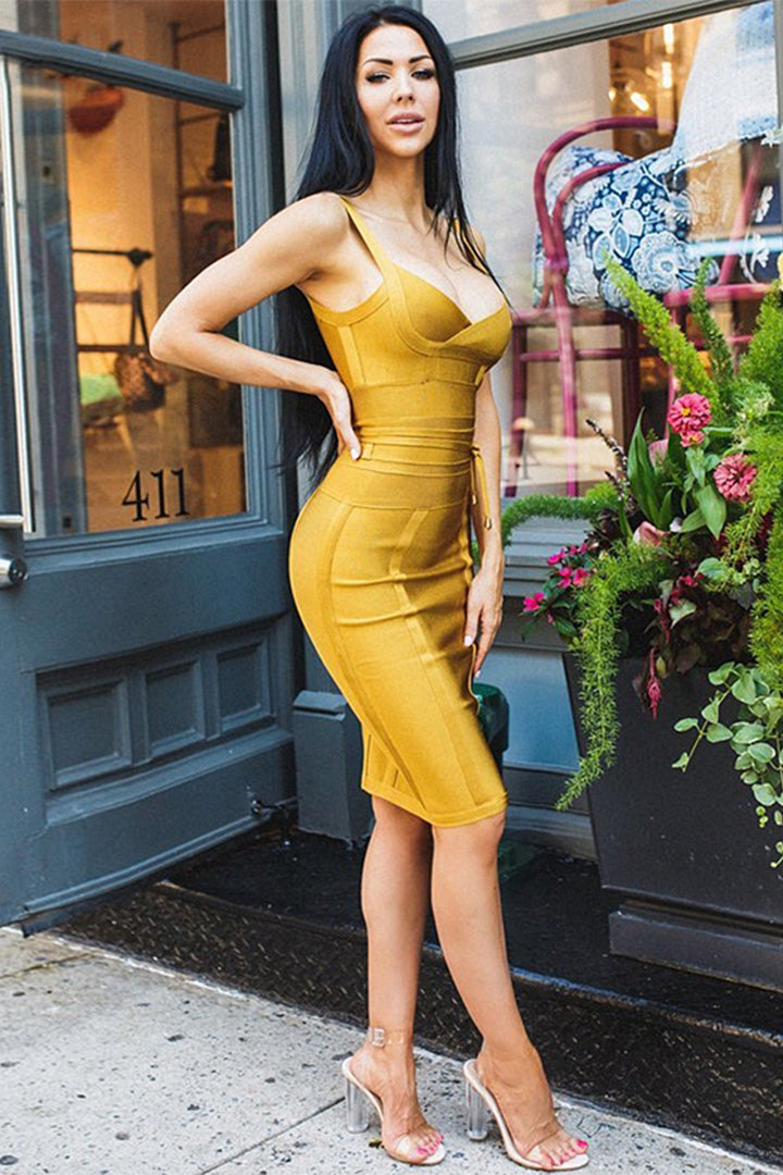 Celebrity Party Spaghetti Strap V-Neck Bandage Dress - iulover