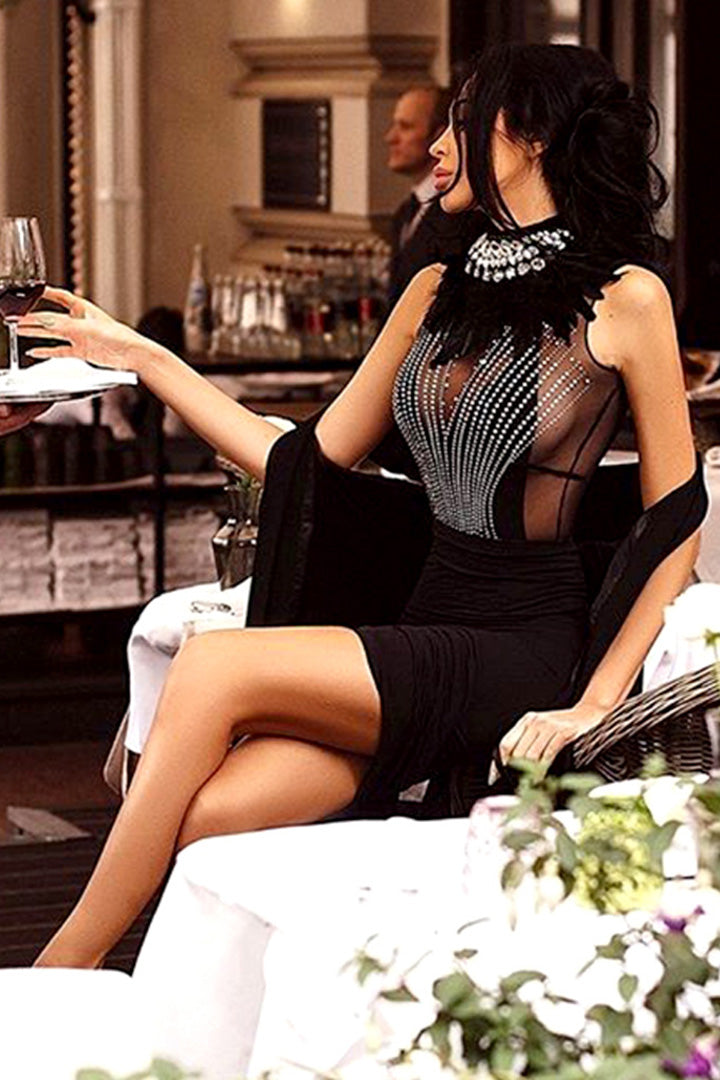 Black Crystals Feather Mesh Bandage Dress - iulover