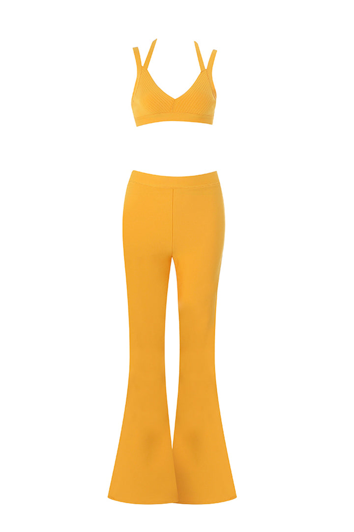 Yellow Casual Two Piece Set Fitness Long Pants