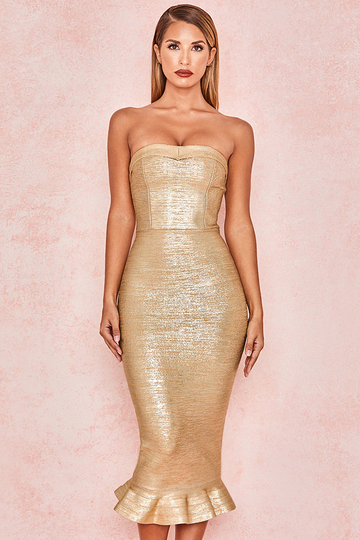 Gold Foil Print Strapless Fluted-Hem Bandage Dress - iulover