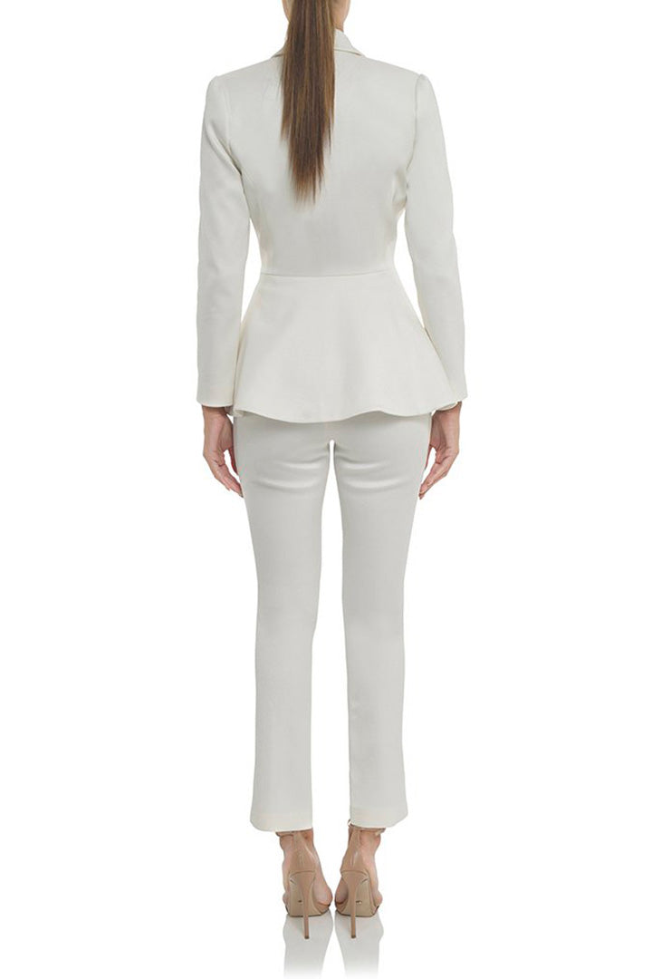 White V-Neck Sexy Business Pant Suits Set