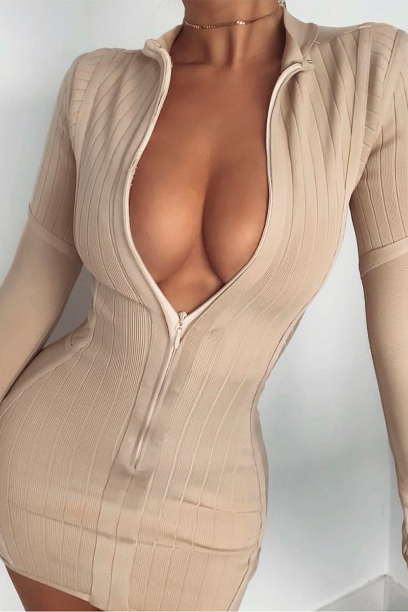 Beige Long Sleeve Stand Collar Front Zipper Bandage Dress