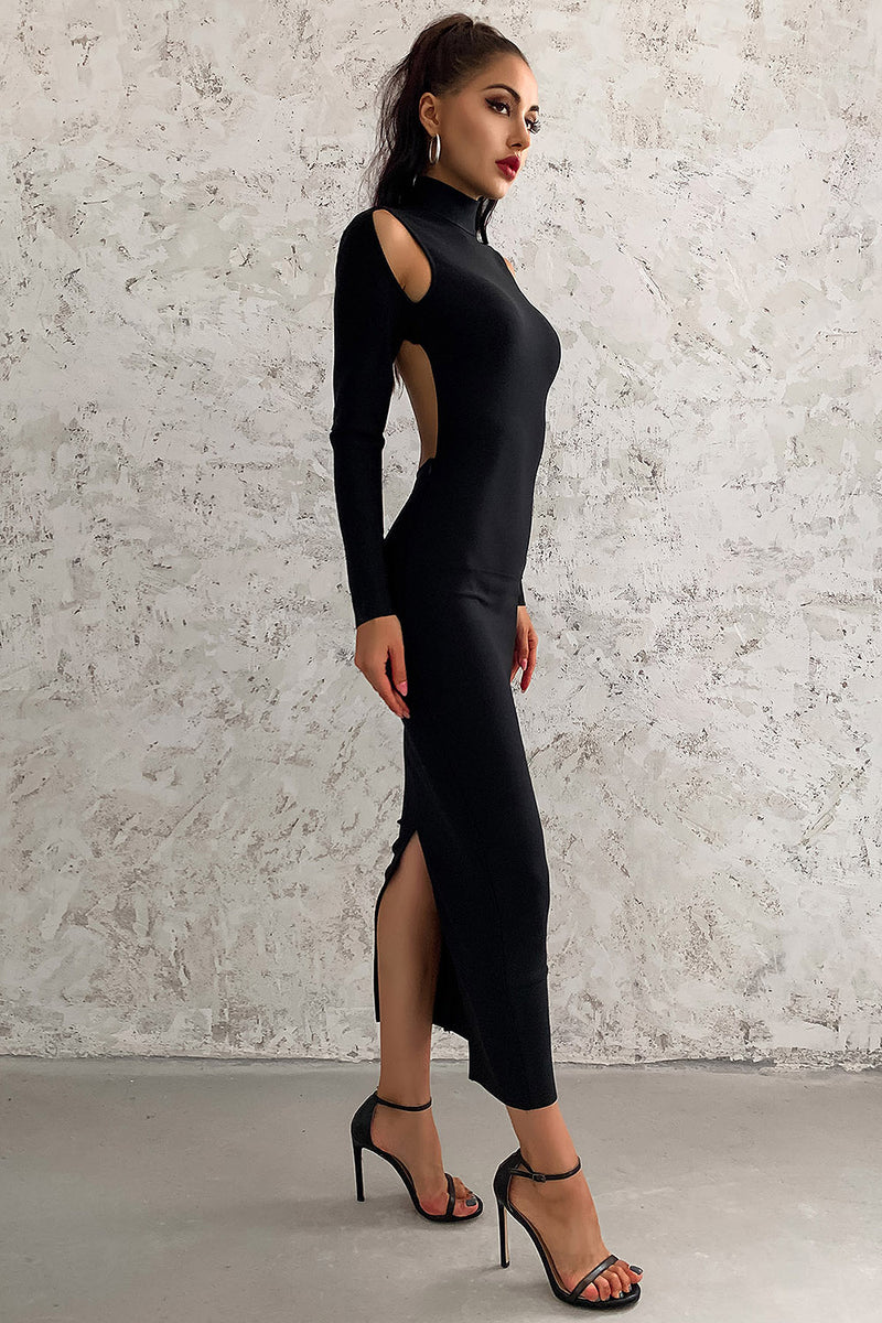 Full Sleeves Hollow Out Black Bodycon Bandage Dress