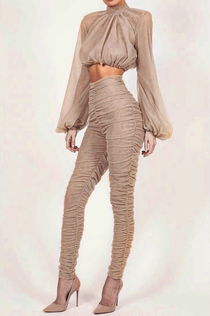 Turtleneck Short Tank Full Length Pants Two Pieces Sets - iulover