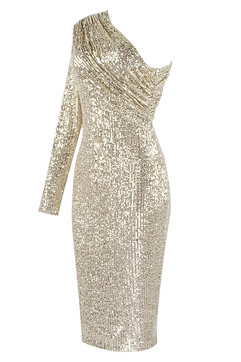 One-shoulder Sequin Beaded Mesh Dress