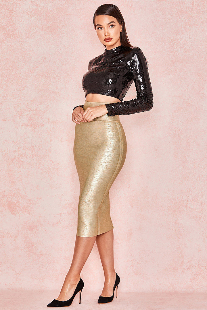 Gold Foil Printed Bandage Skirt - iulover