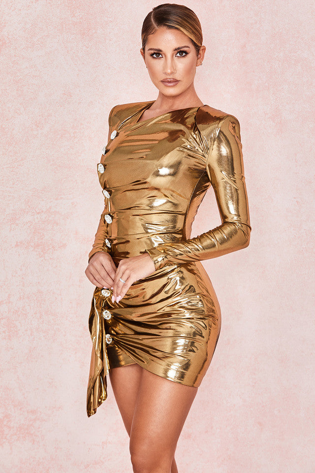 Gold Metallic Lame Drape Dress - iulover