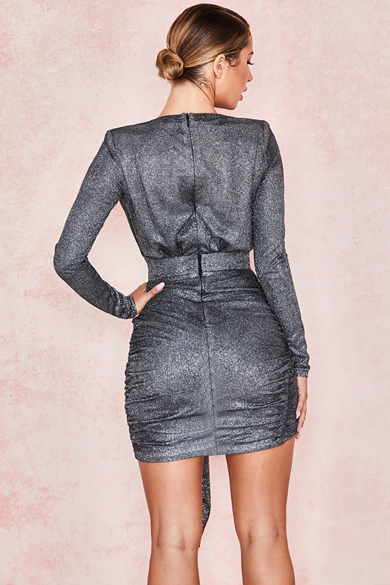 Graphite Sparkle V-Neck Wrap Dress - iulover
