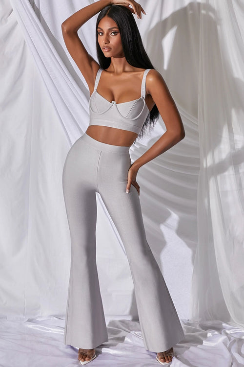 Two Piece Set Sleeveless Short Top And High Waist Flared Pants