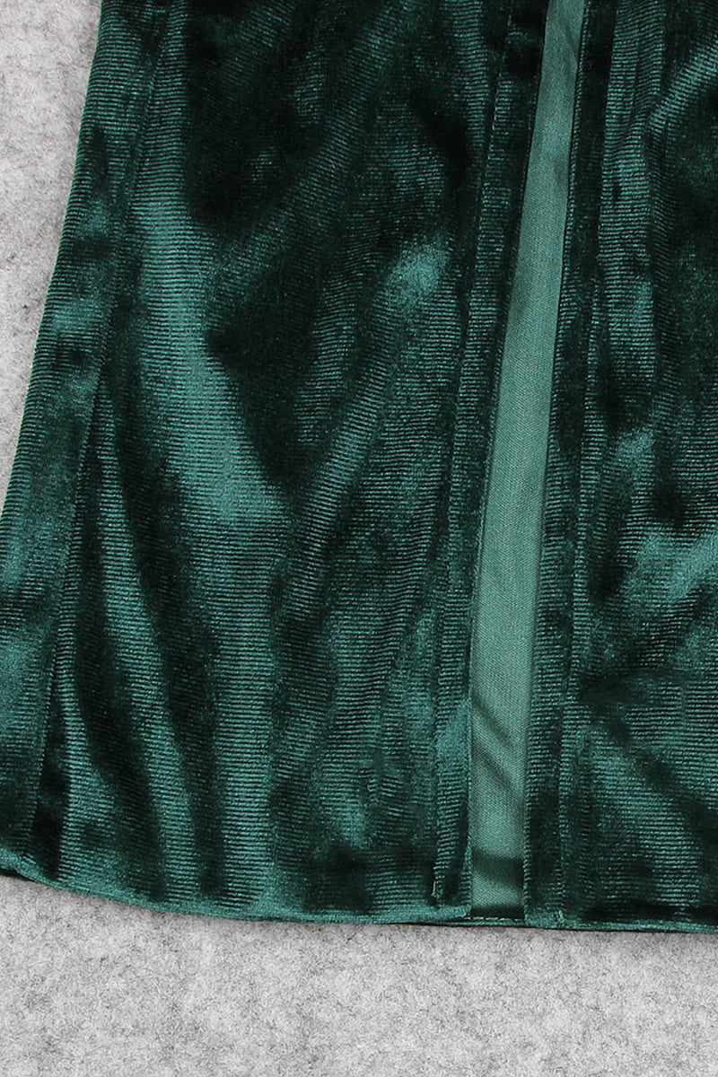 Green Off-Shoulder High-Split Velvet Maxi Dress