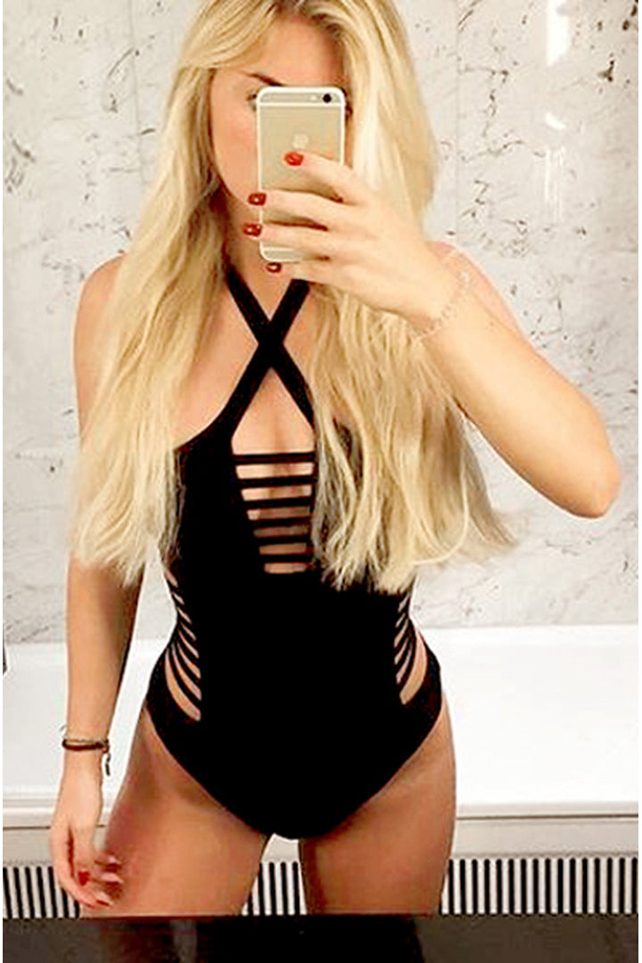 One Piece Cut Out Bandage Swimsuit Black - iulover