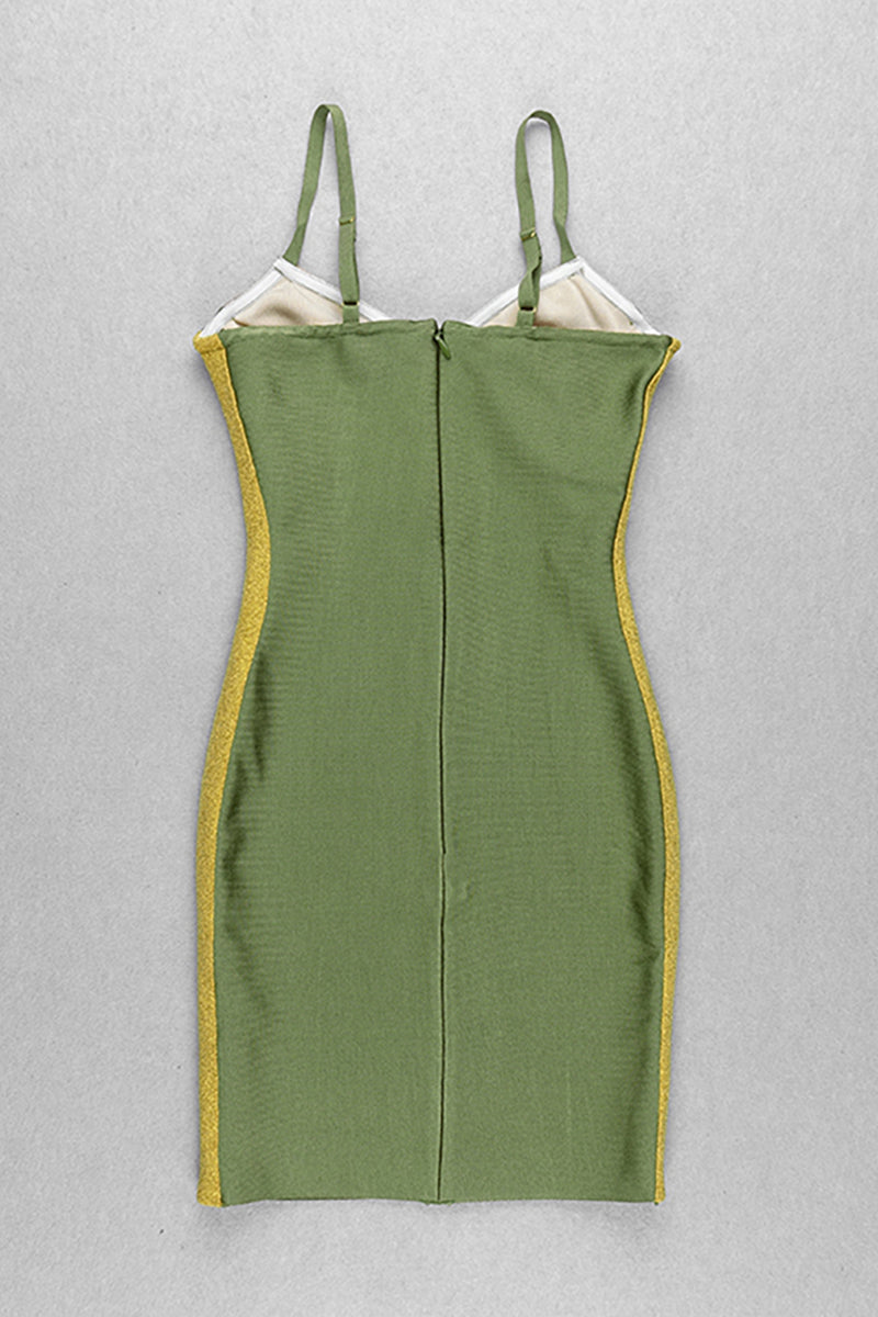 Stitching Sleeveless Spaghetti Strap Mini Bandage Dress