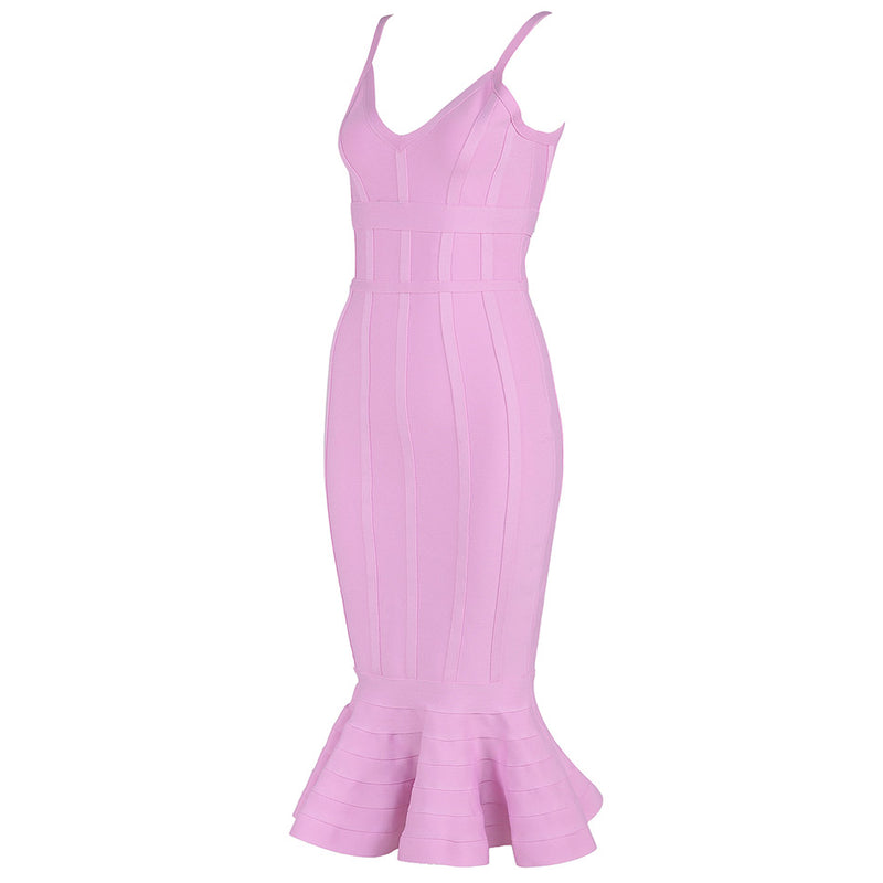 Pink Spaghetti Strap Mermaid Bandage Dress - iulover