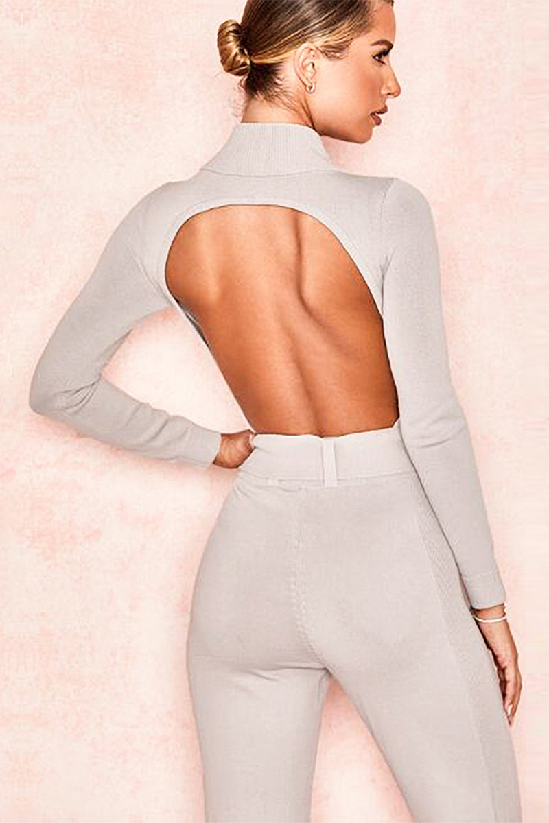 Long Sleeve High Neck Belt Tights Hollow Jumpsuit