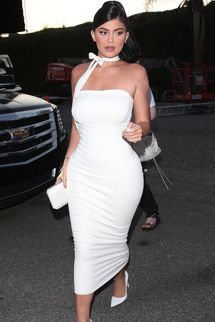 Off Shoulder White Bodycon Maxi Dress - iulover
