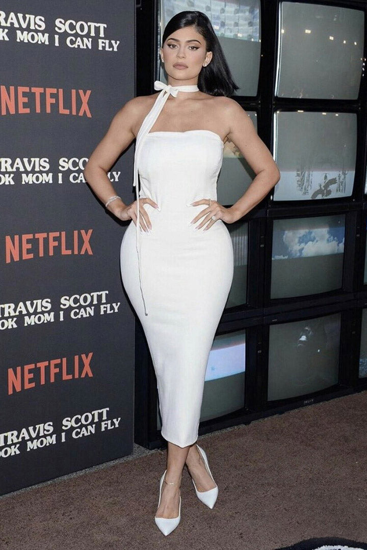 Off Shoulder White Bodycon Maxi Dress