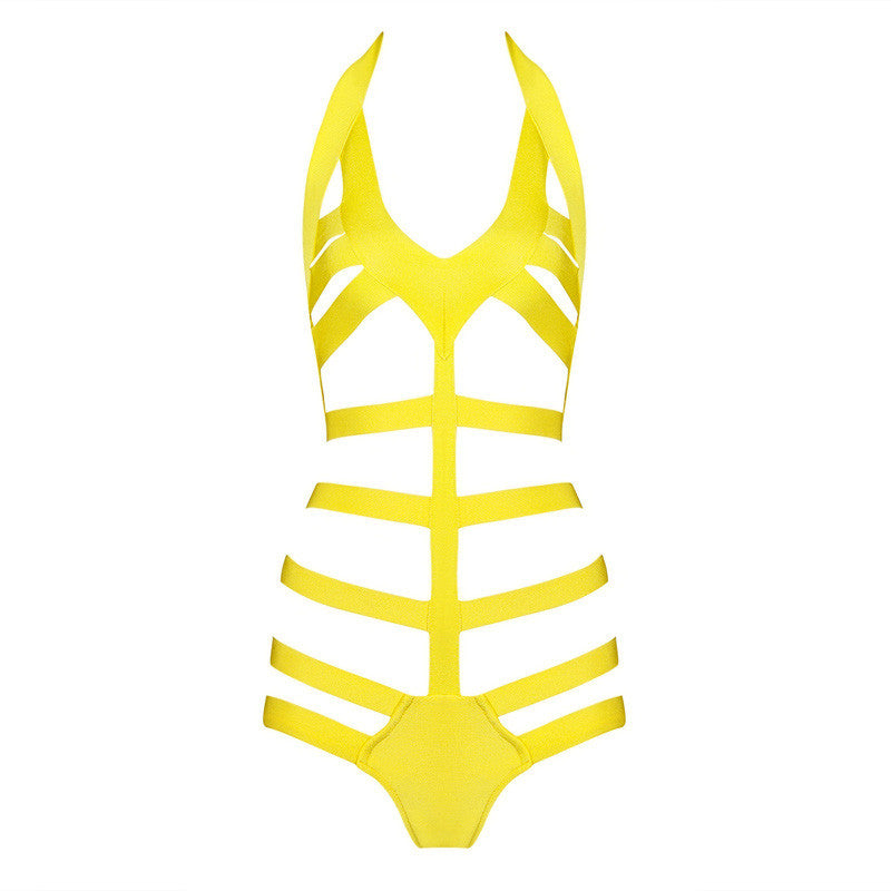 Halter Cut Out Backless Beachwear Swimsuit Various Colours - iulover