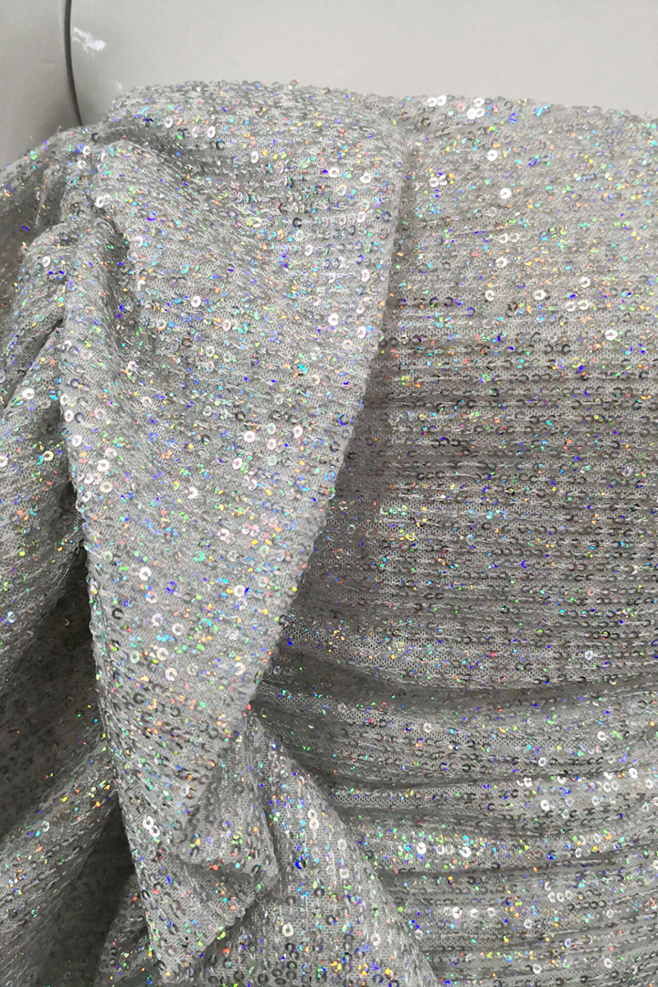 Holographic Silver Sequin Strapless Dress - iulover