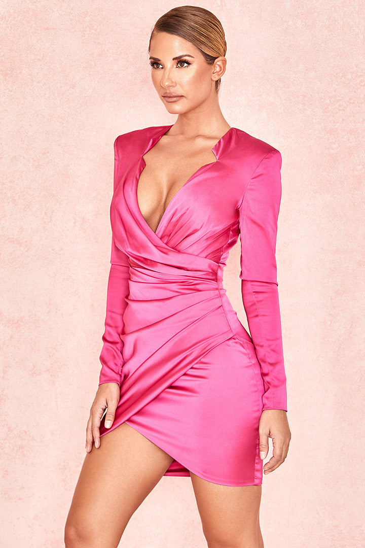 Hot Pink Gathered Tux Wrap Dress - iulover