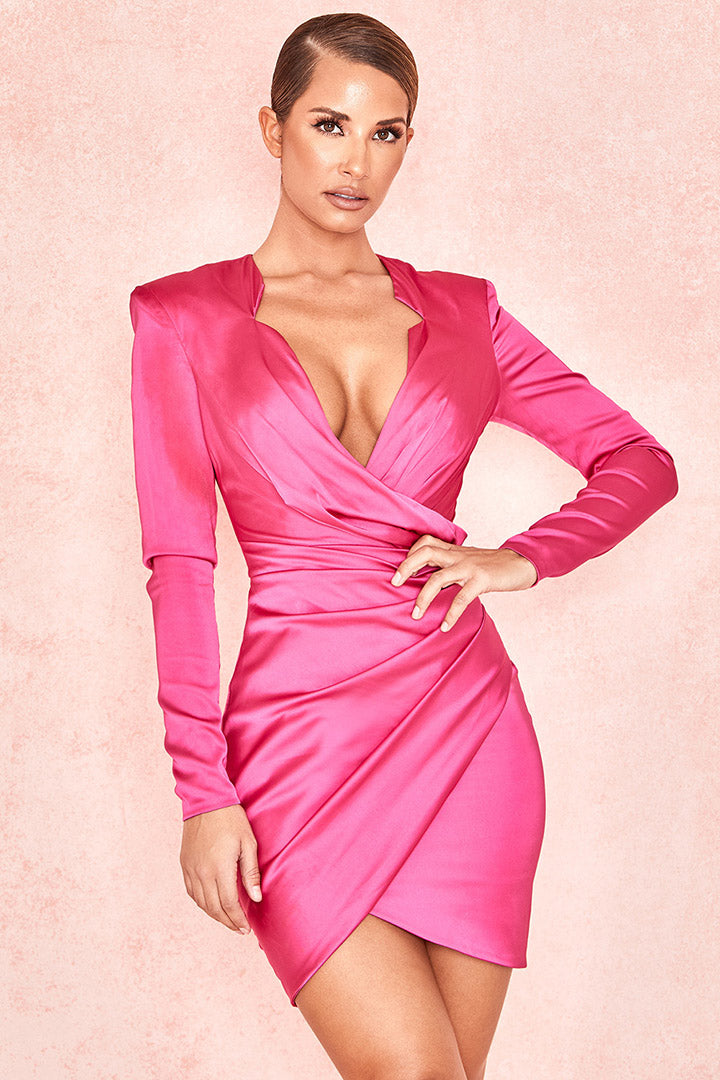Hot Pink Gathered Tux Wrap Dress