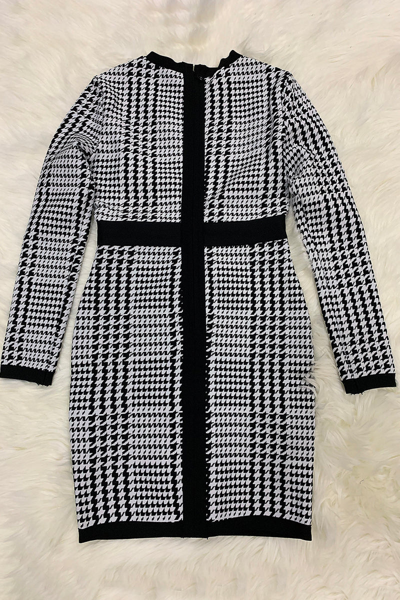 Houndstooth Print Black and White Long Sleeve Bandage Dress