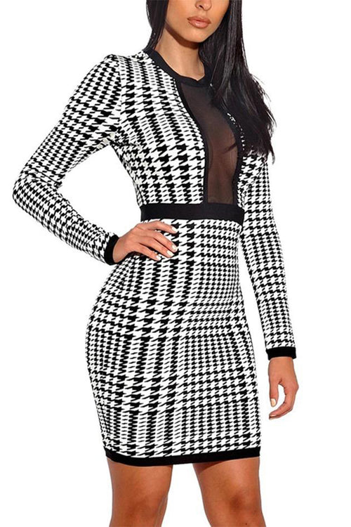 Houndstooth Print Black and White Long Sleeve Bandage Dress - iulover