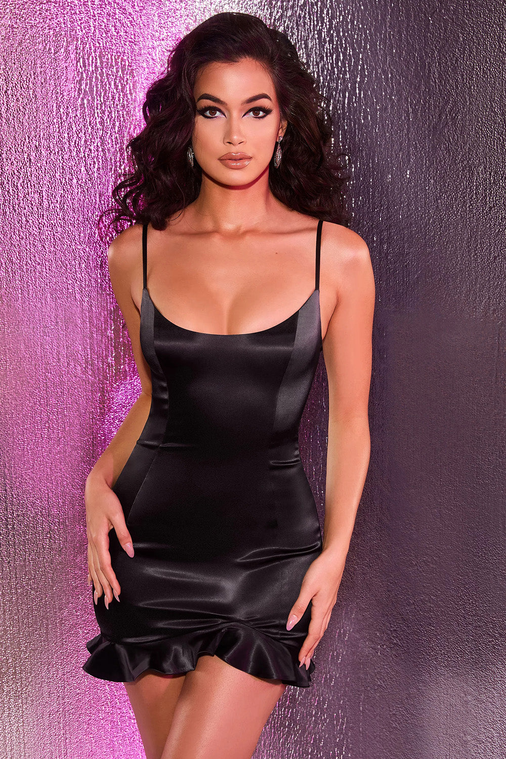 Irresistable Black Satin Mini Dress - iulover