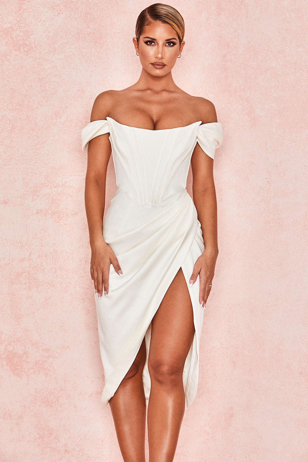Ivory Satin Off Shoulder Dress - iulover