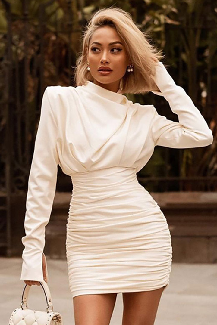 Ivory Satin Draped Mini Dress - iulover