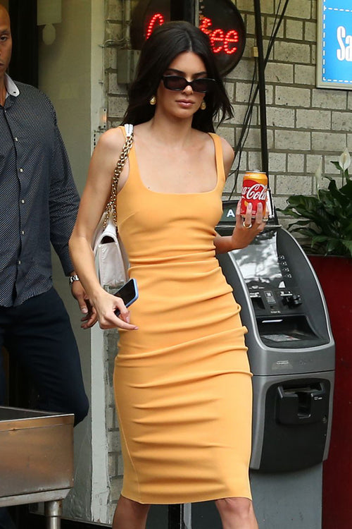 Orange Frills Strappy Bandage Dress - iulover