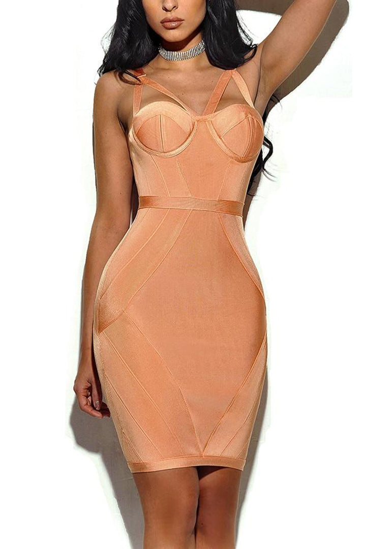 Pink Spaghetti Strap Open Back Bandage Dress - iulover