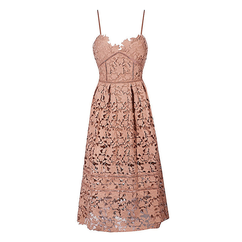 Spaghetti Strap Midi Pattern Fashion Lace Dress - iulover