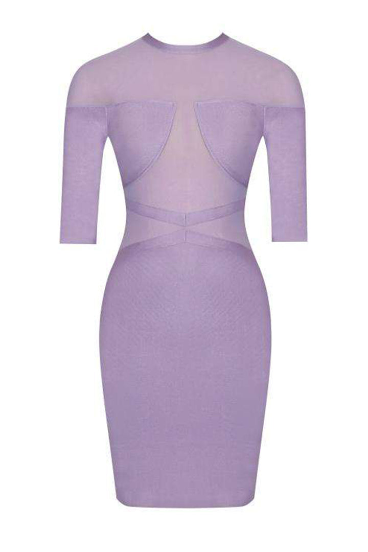 Purple Mesh Three-Quarter Sleeve Bandage Dress - iulover